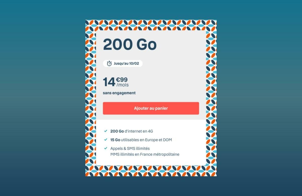 C'est le retour du forfait mobile au meilleur rapport data/prix du moment : 200 Go à 14,99 euros seulement