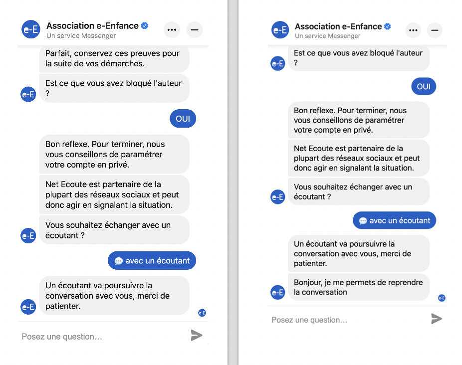 The e-Enfance association joins forces with Faceboko to create a chatbot