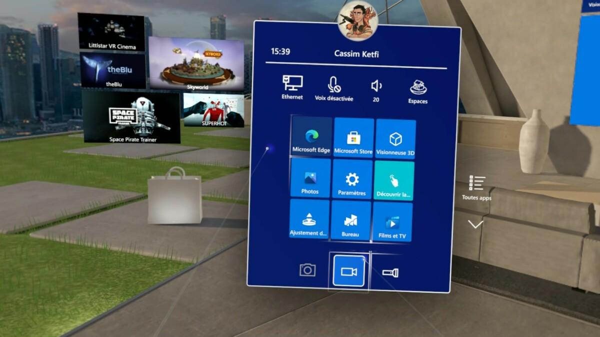 Le menu démarrer de l'environnement Windows Mixed Reality