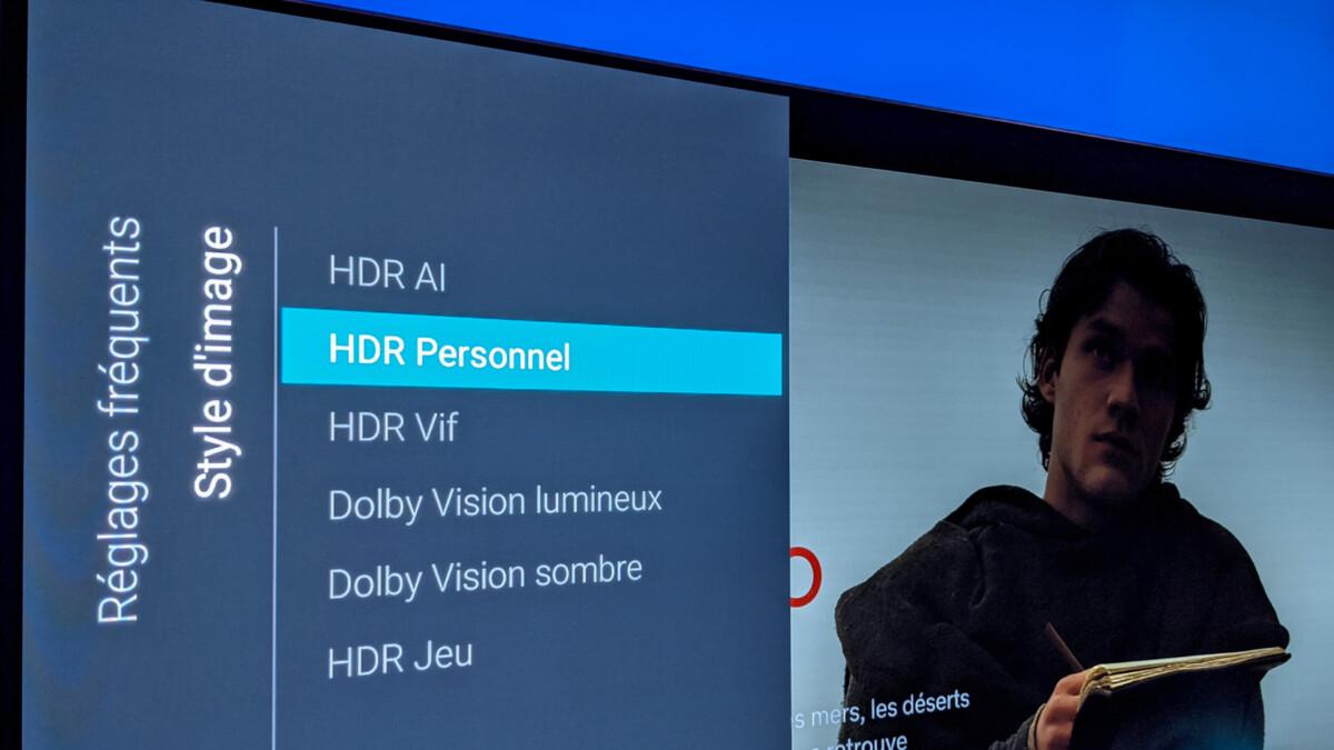 Les modes HDR proposés dans les menus