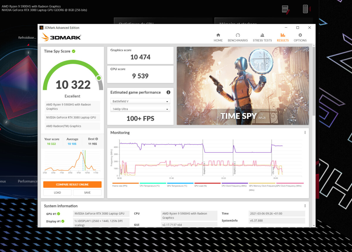 Le benchmark synthétique 3DMark Time Spy classique : 10 474 points