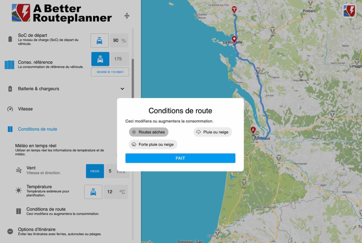 Quelques options disponibles sur A Better Route Planner