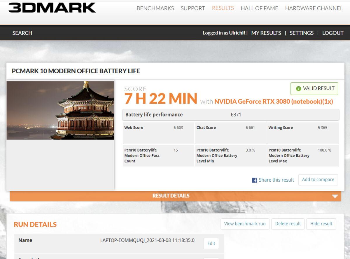 PCMark 10 Modern Office avec à la fois l' iGPU et le dGPU activés