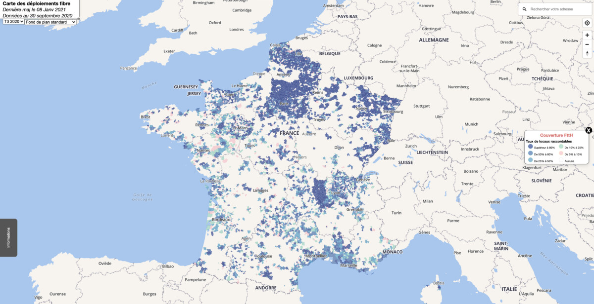 Deployment of fiber in France on March 6, 2021