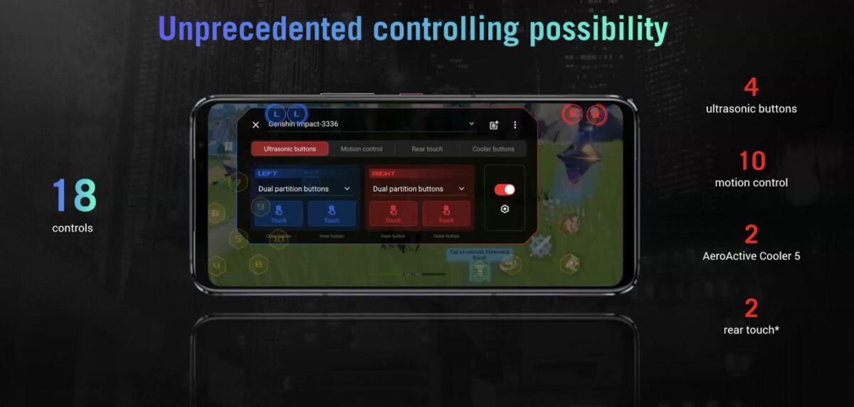 La liste des contrôles AirTrigger5 embarqués sur les ROG Phone 5