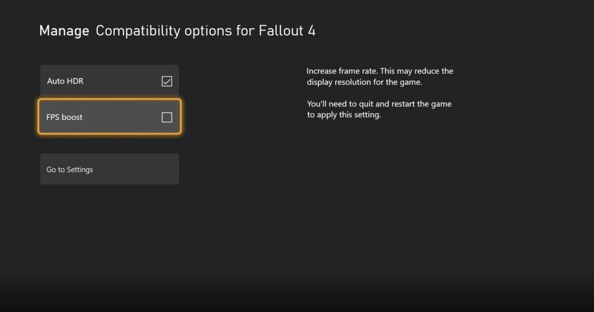 Cochez les options dans l'interface Xbox pour améliorer Fallout 4