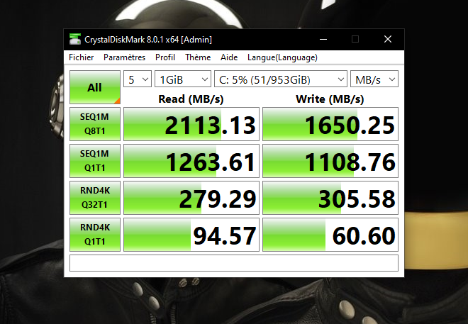 Les performances du SSD sont correctes