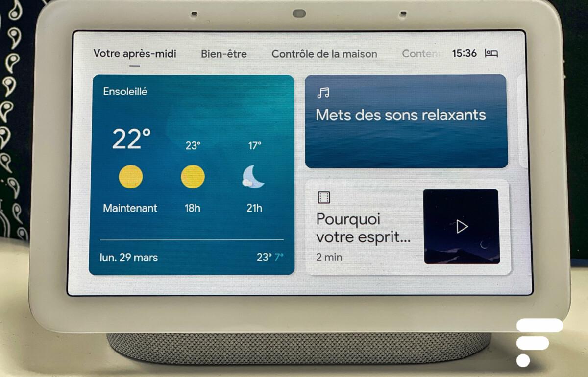 L'affichage en journée de l'écran du Google Nest Hub 2e génération