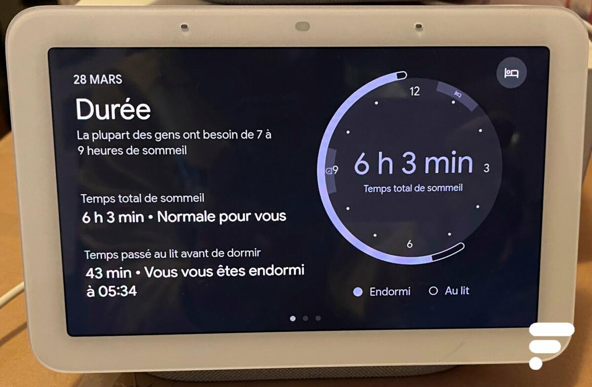 Le bilan de la nuit mitigé sur le Le Google Nest Hub 2e génération