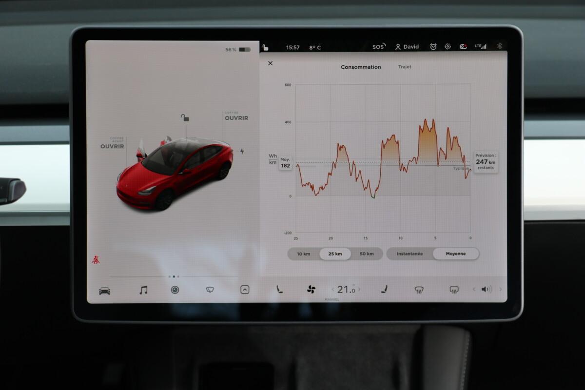 La consommation en Tesla Model 3 via l'application «Énergie»
