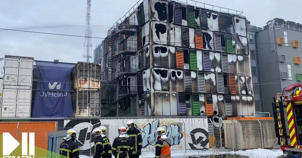 Un des bâtiments détruits