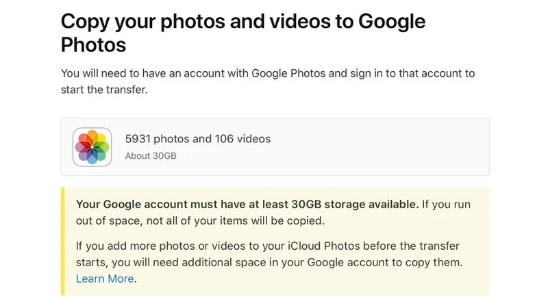 Transfert de photos d'iCloud vers Google Photos