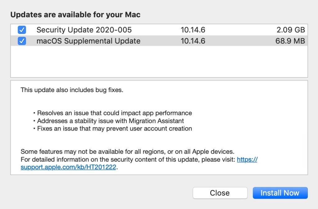 Les plus anciennes versions de macOS proposent de n'installer que les patches de sécurité
