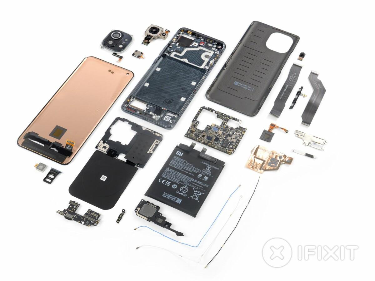Xiaomi Mi 11 vue éclatée iFixit