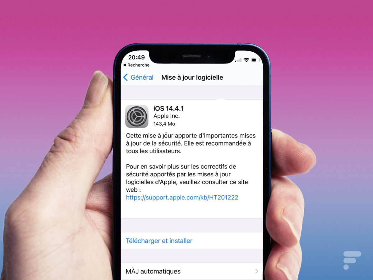 mise a jour ios 1200x900 - Important security update: iOS 14.4.1 for iPhone and iPad, download it now - Frandroid