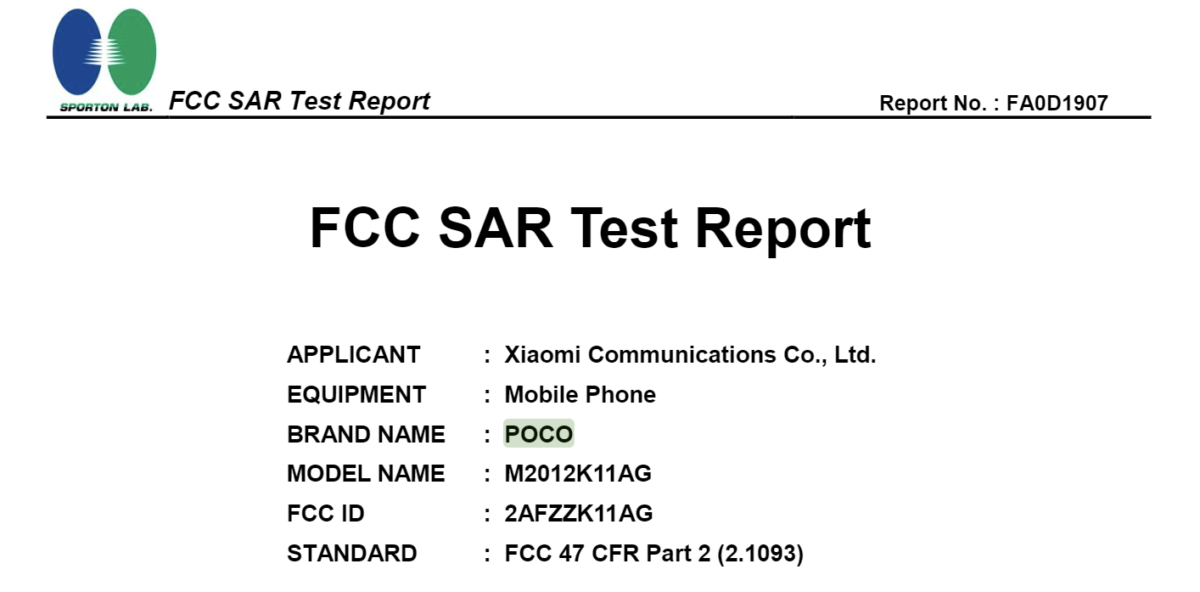 Un smartphone Poco certifié par la FCC