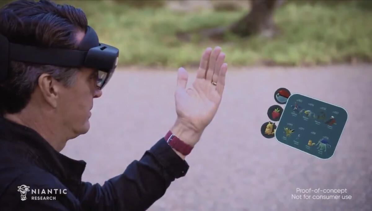 Une démonstration de Pokemon Go avec le casque de réalité mixte Microsoft HoloLens