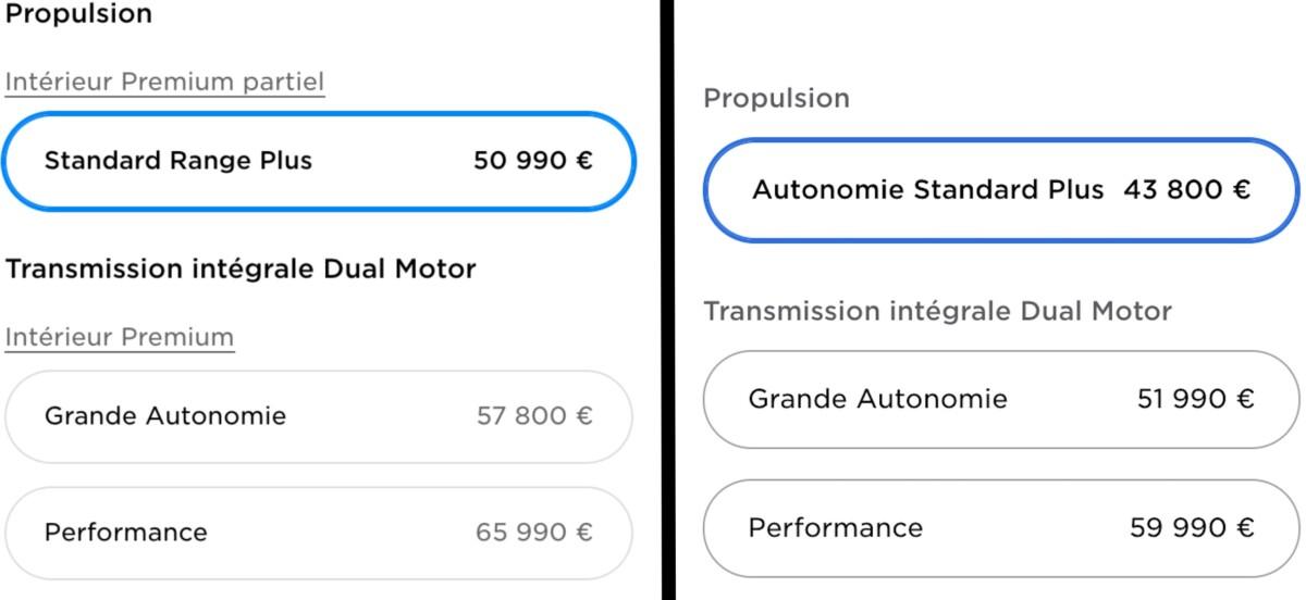 24 heures séparent les deux tarifs des Tesla Model 3 affichés