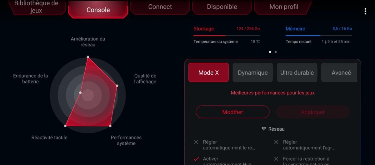 Le mode Armoury Crate du ROG Phone 5 et ses menus