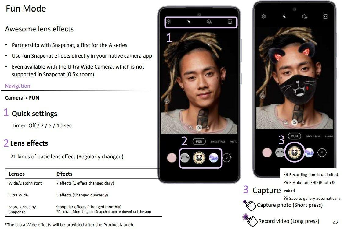 Des filtres Snapchat seraient préinstallés sur les Galaxy A52 et A72