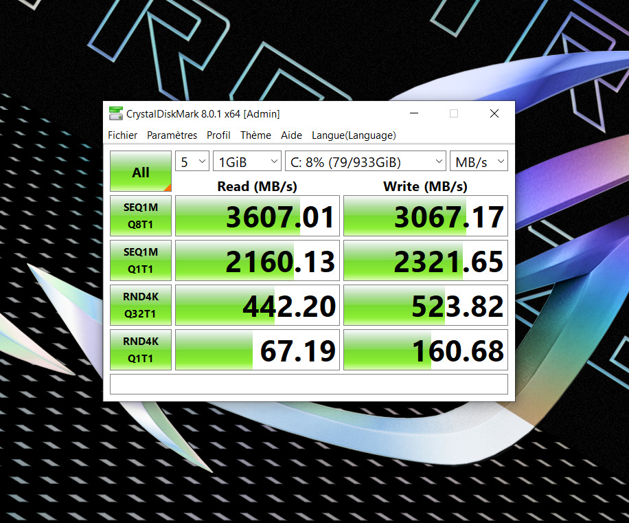 Le SSD est relativement rapide, moins rapide que celui que équipe le Zephyrus Duo SE
