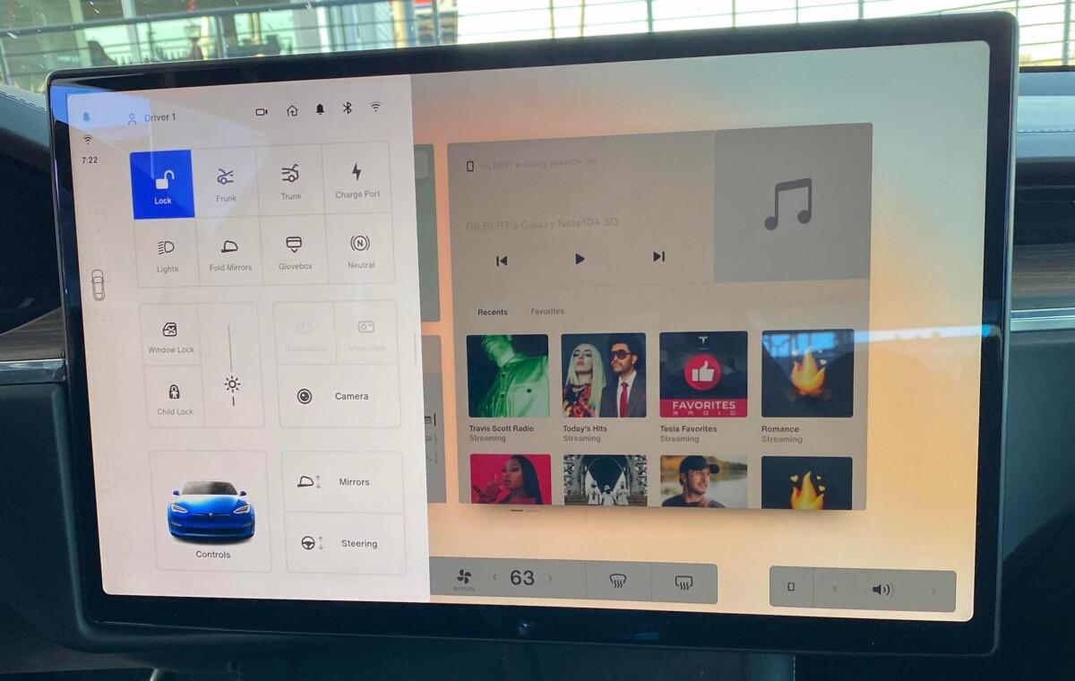 L'interface graphique de la nouvelle Model S Plaid