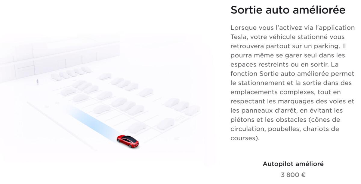 La sortie auto améliorée sur le site Tesla France