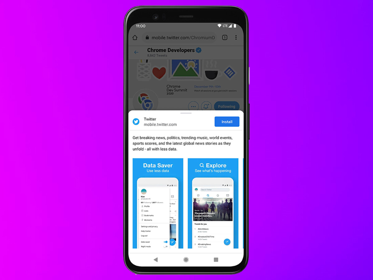 It is possible to install the Twitter web application on a smartphone