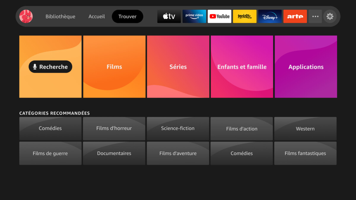 The new Amazon Fire TV interface with the Find function