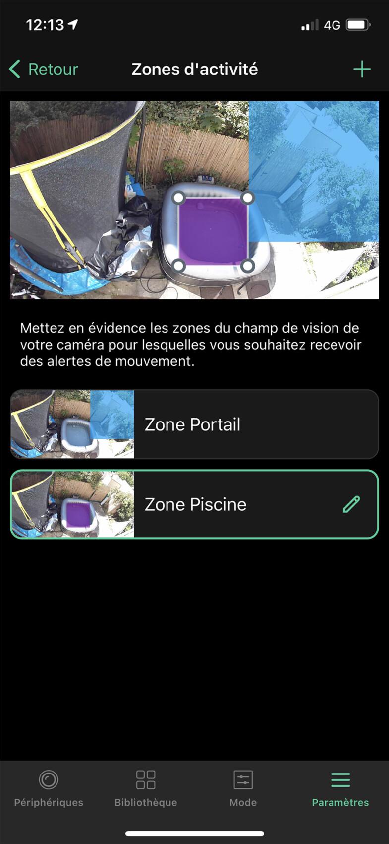 L'app peut définir des zones d'activité
