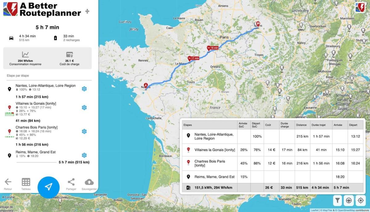 Sans tarif préférentiel, comptez 26 euros en Audi e-tron pour ce trajet Nantes – Reims