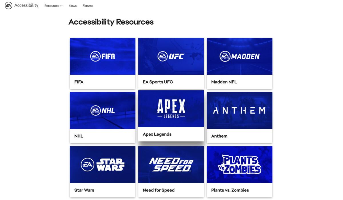 La liste des jeux EA disposant d'un guide d'accessibilité