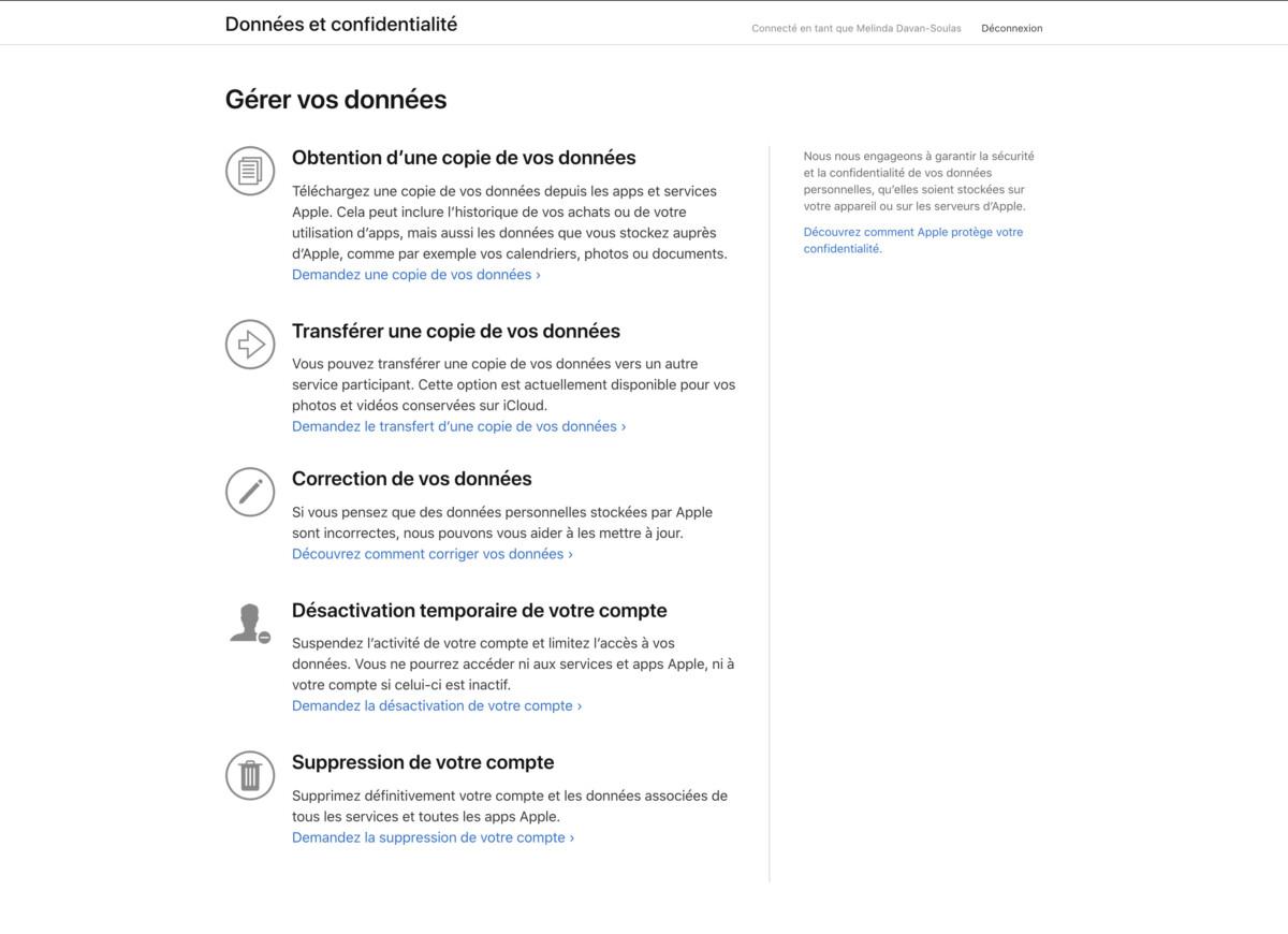 Le tableau de bord de l'outil de gestion de vos données Apple
