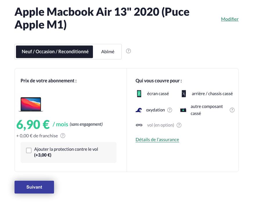 Pour un MacBook Air 13″ équipé de la puce AppleM1, l'assurance s'élève à 6,90euros par mois