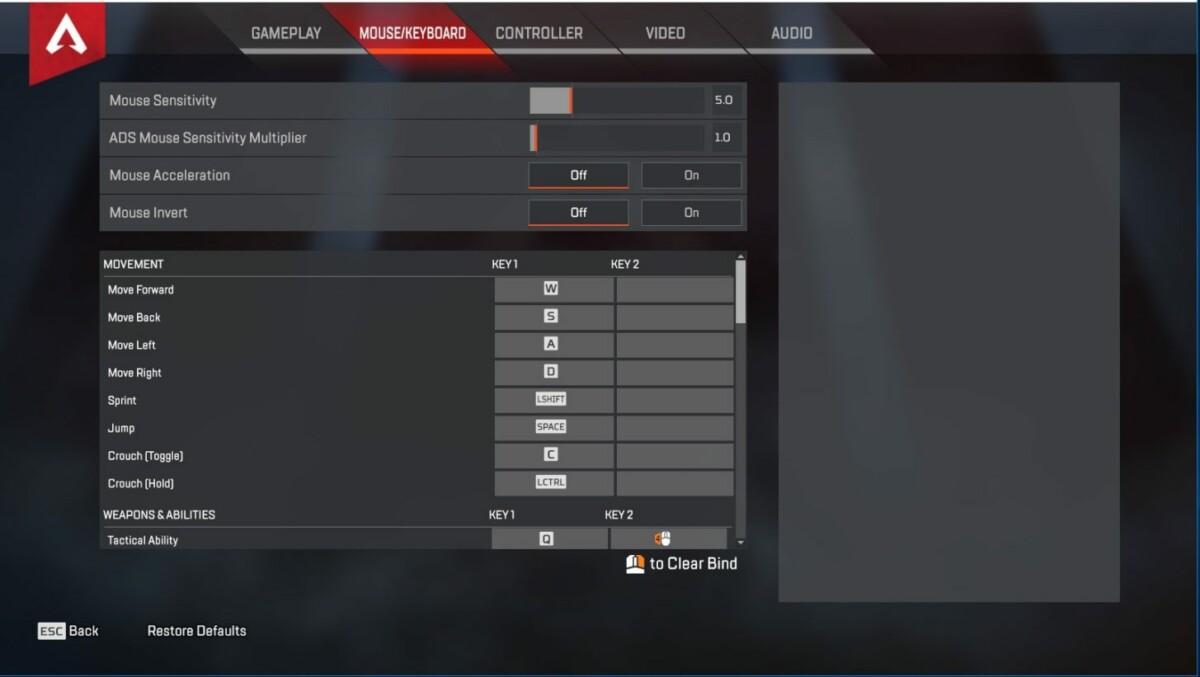 Les réglages d'accessibilité dans Apex Legends