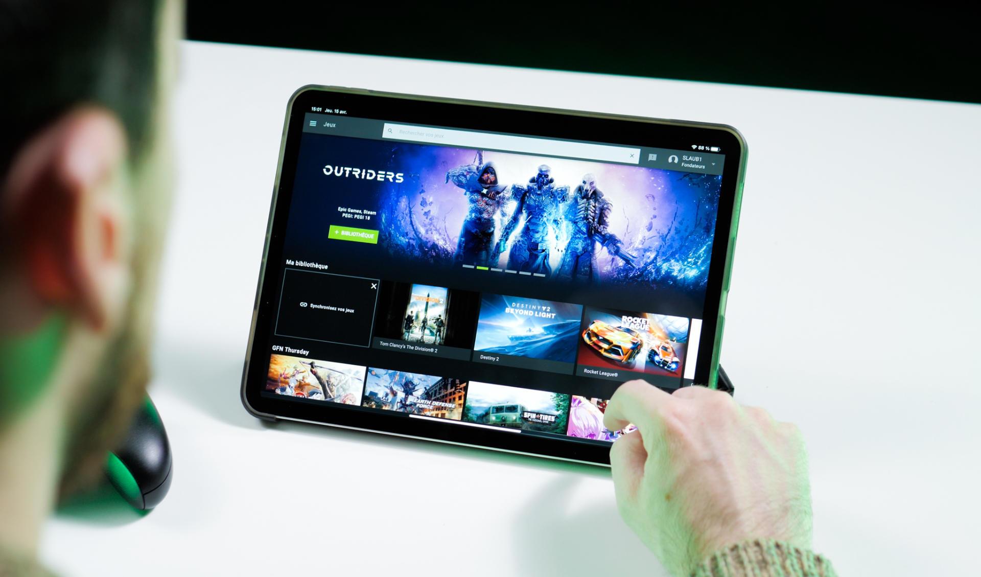 Ici le service GeForce Now de Nvidia sur l'iPad