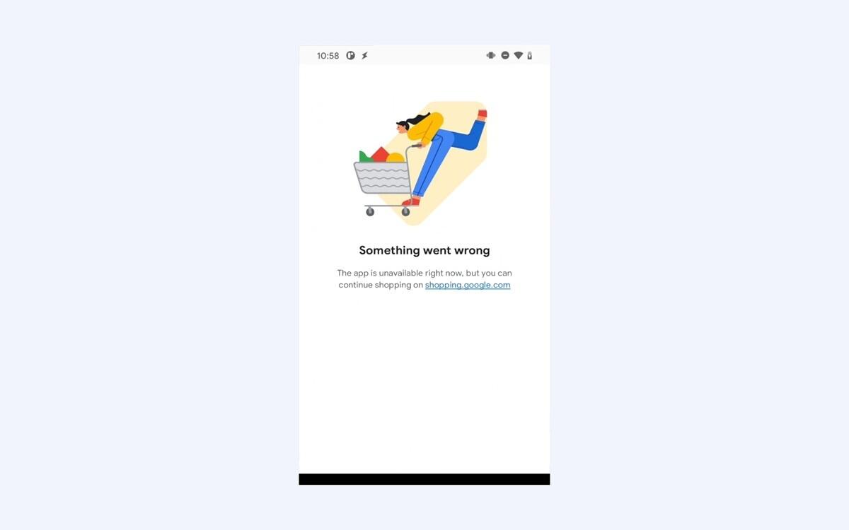 Le message d'erreur de l'application Google Shopping sur Android.