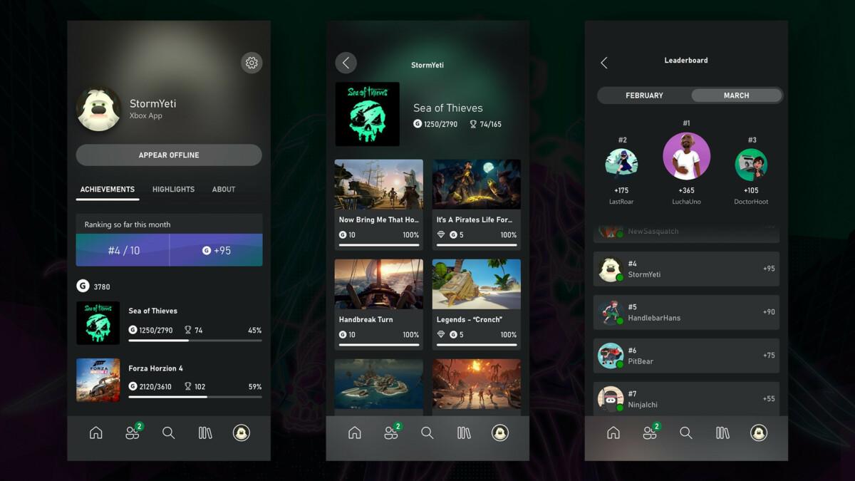 L'app Xbox fait peau neuve avec l'arrivée des succès et des classements
