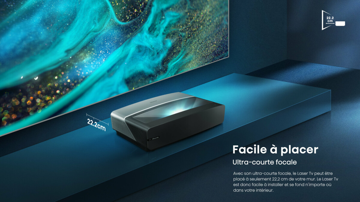 Le Laser TV Hisense88L5VG n'a besoin que de 22cm de recul pour afficher une image de 88pouces
