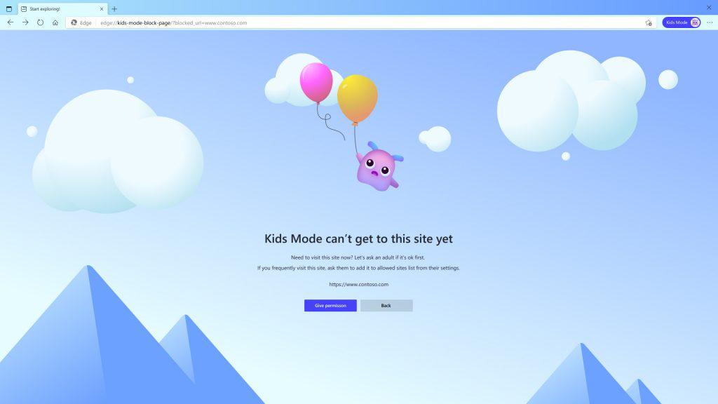 La page de blocage lorsqu'un enfant essaie d'accéder à un site non autorisé.