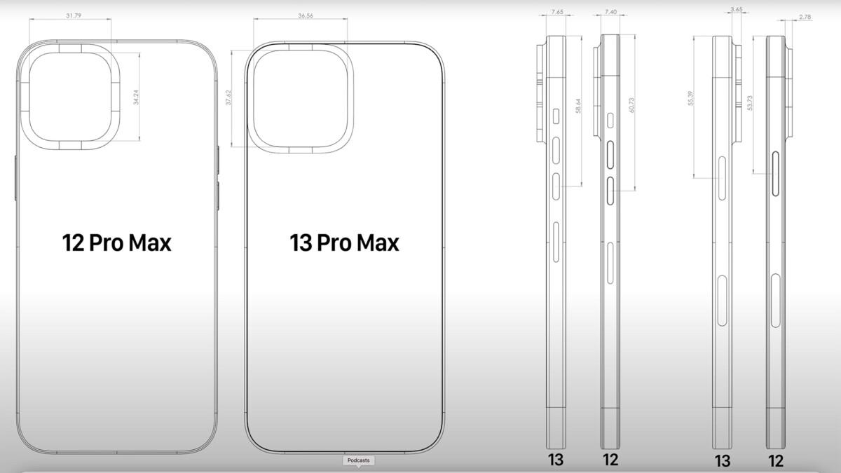 Les dimensions de l'iPhone 13 Pro max seraient plus importantes que l'iPhone 12 Pro max.