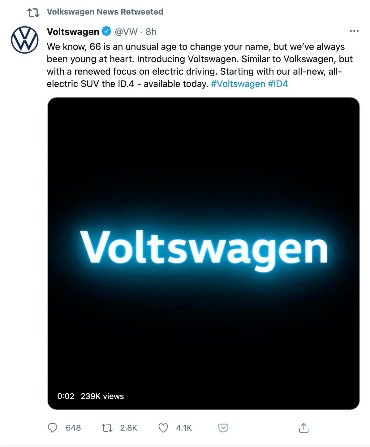 Capture d'écran d'un tweet de Volkswagen