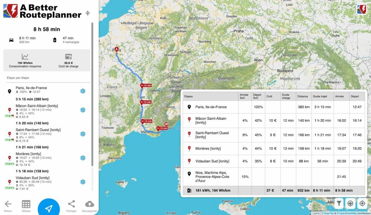 37 euros pour faire Paris-Nice en Model 3 Grande Autonomie