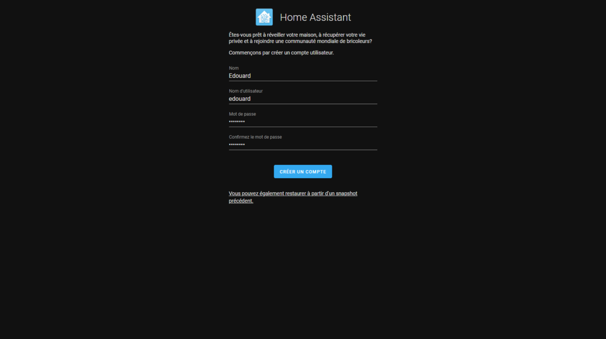 Configuration Home Assistant