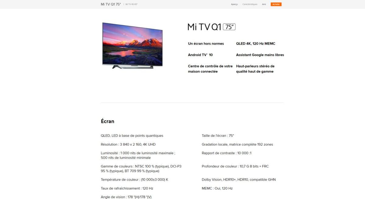 Au 7avril, alors que le problème est avéré, le site de Xiaomi n'est pas mis à jour