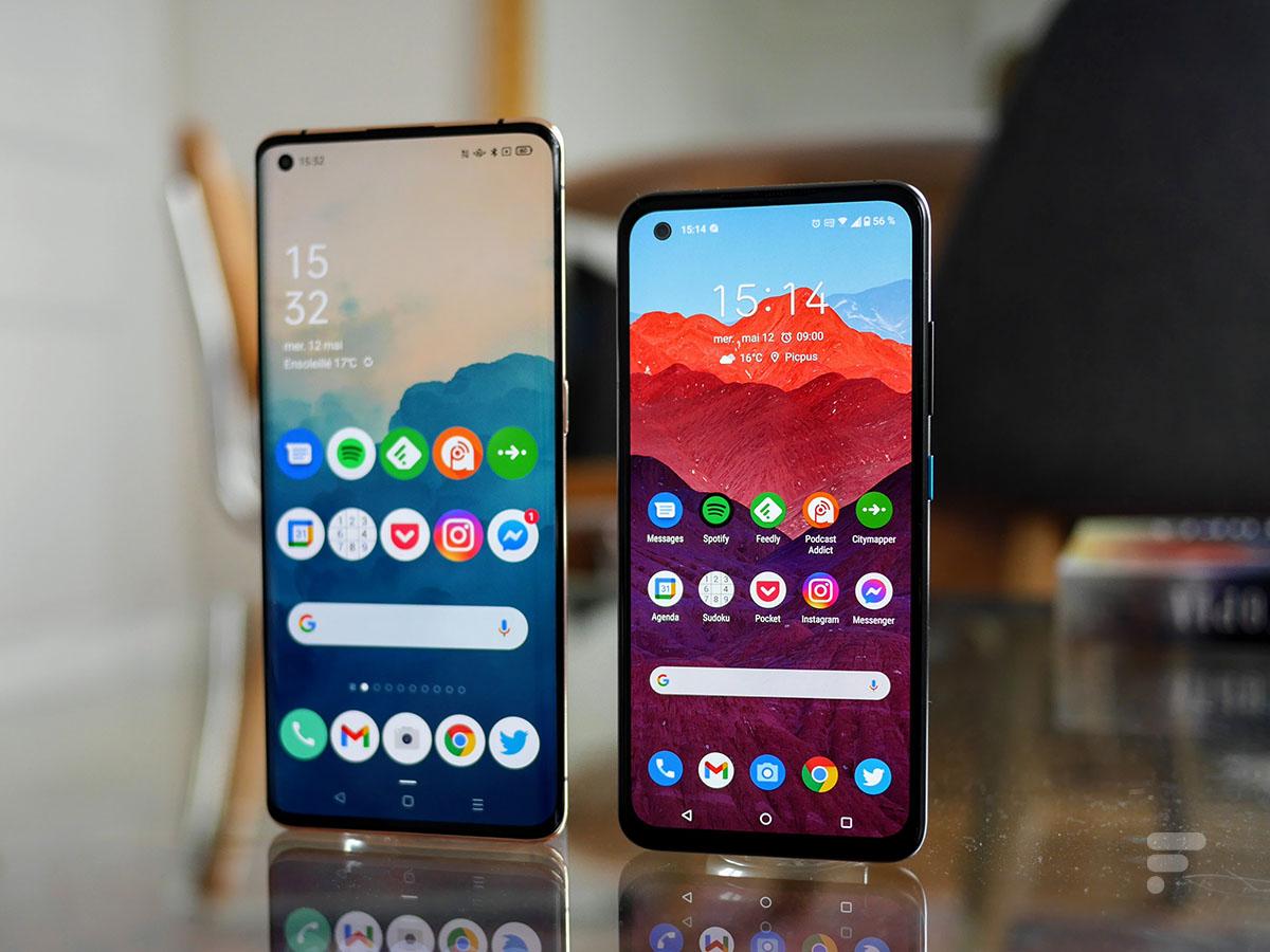 L'Oppo Find X2 Pro à gauche et l'Asus Zenfone 8 à droite