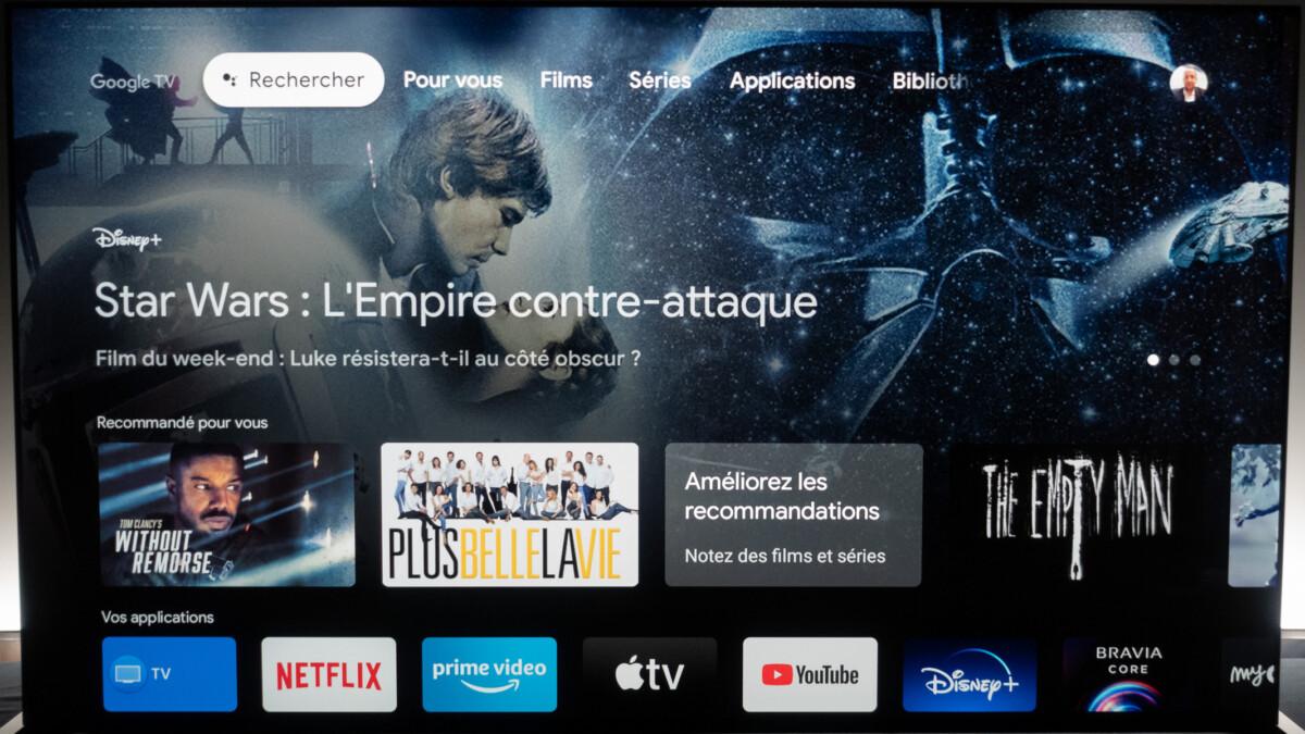 La page d'accueil de Google TV