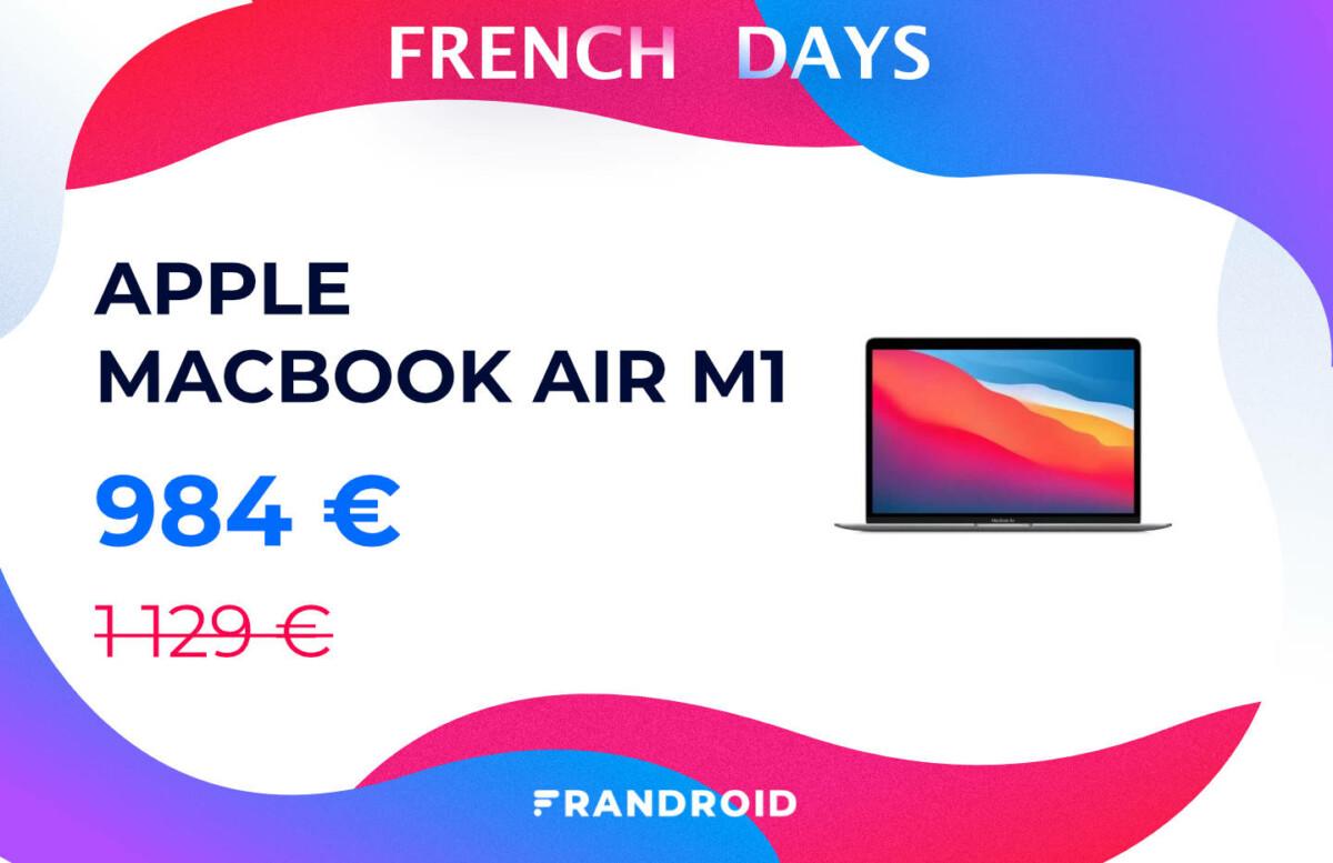 Le prix du MacBook Air M1 d'Apple est en chute libre pour les French Days
