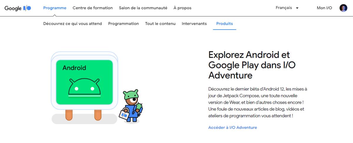 La mention de Wear OS sur le site de la Google I/O