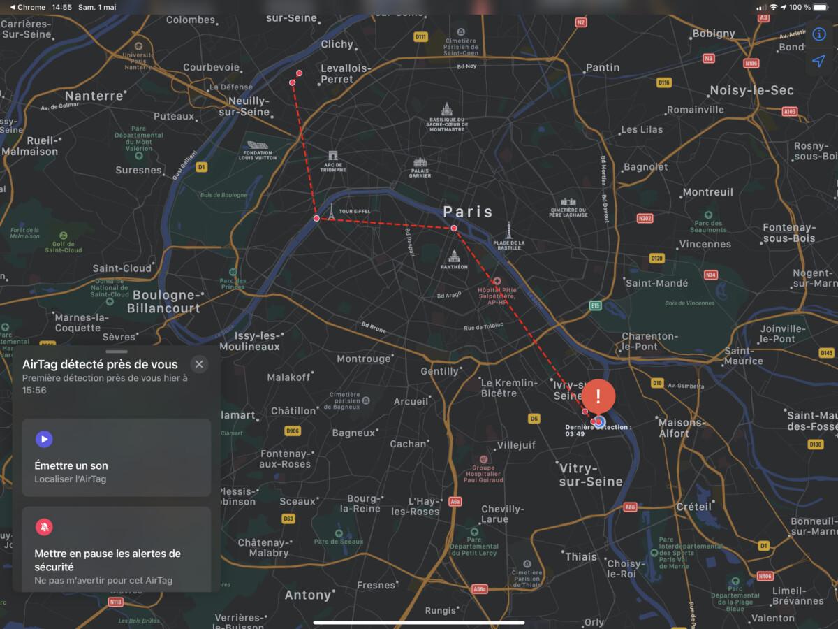 Vous pouvez voir apparaître une carte de suivi du AirTag suspect